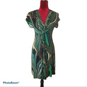 🦚NWT Green/Tan Pattern Bordeaux Dress